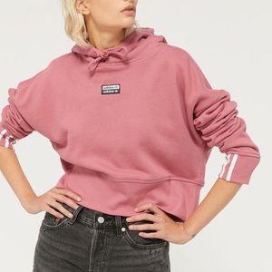 Adidas pink cropped sweatshirt hoodie large NWT!